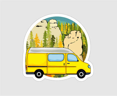Van with sandstone formation and forest