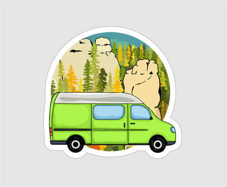 Van life sticker. Sandstone rock formation, forest and the mountains in the background. Colorful Illustration. 矢量图像