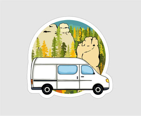 Van with sandstone formation and forest in the background. Van life badge, illustration. Çizim
