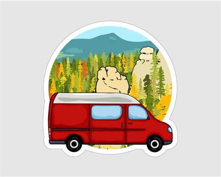 Van life sticker. Sandstone rock formation, forest and the mountains in the background. Colorful Illustration. Çizim