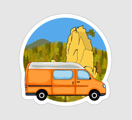 Van life sticker. Sandstone rock formation, forest and the mountains in the background. Colorful Illustration. Vectores