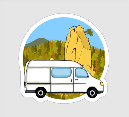 Van life sticker. Sandstone rock formation, forest and the mountains in the background. Colorful Illustration.