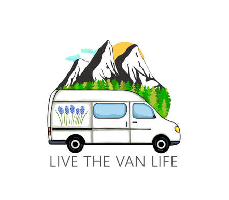 Camper van with forest and mountains in the background. Living van life, camping in the nature, travelling. Live the van life text. Illustration. 向量圖像