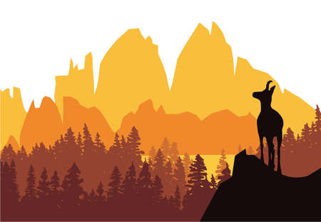 A chamois stands on top of a hill with mountains and forest in the background. Black silhouette with orange, yellow and brown background. Illustration.