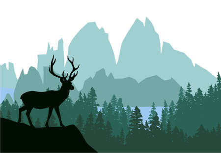 Deer with antlers posing on the top of the hill with mountains and the forest in background. Silhouette with green background, illustration.