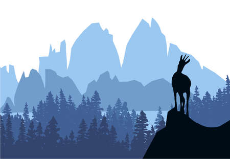 A chamois stands on top of a hill with mountains and forest in the background. Black silhouette with blue background. Illustration.