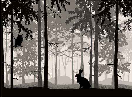 Owl sit on branch of tree, hare in grass, forest background, silhouettes of trees. Magical misty landscape. Illustration.