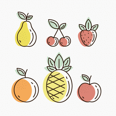 great: Fruit Icons vector, detailed illustrations, great for fabric and textile, prints, phone case, coloring book, invitation, packaging, wallpaper, greeting cards. Illustration