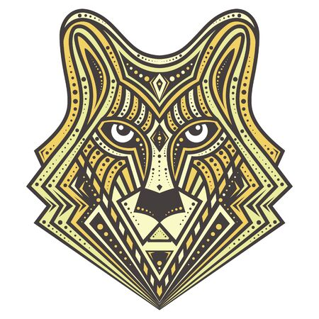 great: Golden Alfa Wolf vector, detailed illustrations, great for fabric and textile, prints, phone case, coloring book, invitation, packaging, wallpaper, greeting cards. Illustration