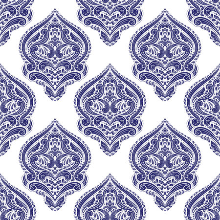 Blue and white ornamental seamless pattern. Stock Illustratie