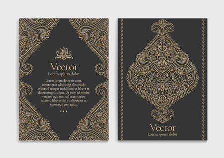 Gold vintage greeting card on a black background. Luxury ornament template. Great for invitation, flyer, menu, brochure, postcard, background, wallpaper, decoration, or any desired idea