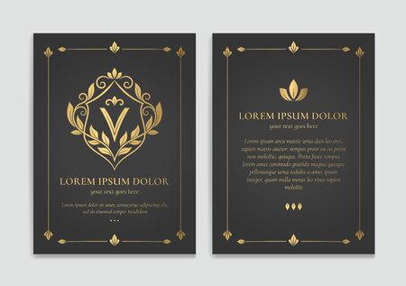 Gold vintage greeting card design with a black background. Luxury vector ornament template. Mandala. Great for invitation, flyer, menu, brochure, wallpaper, decoration, or any desired idea. Ilustração