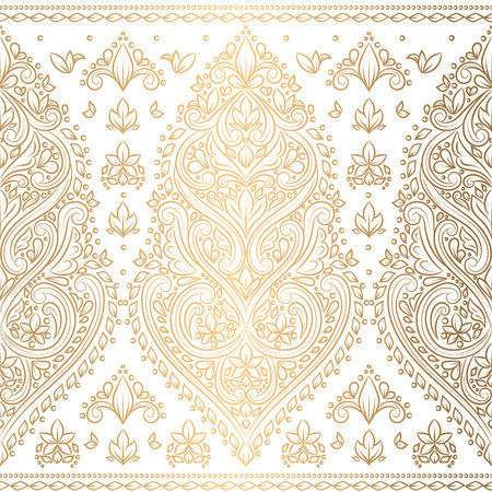 Gold and white floral seamless pattern. Vintage vector, luxury elements. Great for fabric, invitation, flyer, menu, brochure, background, wallpaper, decoration, packaging or any desired idea.