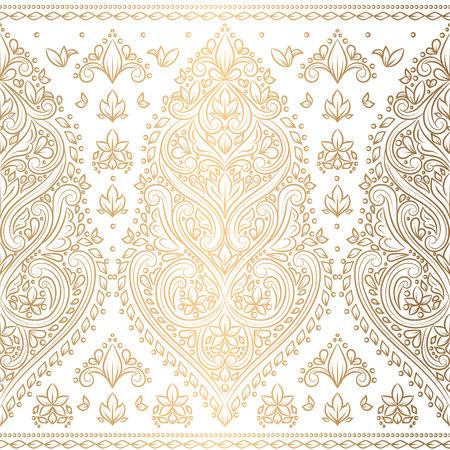 Gold und weißes nahtloses mit Blumenmuster. Vintage-Vektor, Luxuselemente. Ideal für Stoff, Einladung, Flyer, Menü, Broschüre, Hintergrund, Tapete, Dekoration, Verpackung oder jede gewünschte Idee.