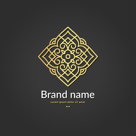 Decorative rhombus logo. Elegant, classic elements. Can be used for jewelry, beauty and fashion industry. Great for emblem, monogram, invitation, flyer, menu, background, or any desired idea. Ilustração