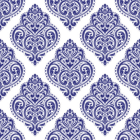 Damasco blanco y azul de patrones sin fisuras. Plantilla de fondo de vector vintage, elementos de lujo. Ideal para tela, invitación, papel tapiz, decoración, embalaje o cualquier idea deseada.