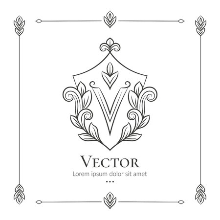 Linear shield emblem. V letter. Elegant, classic vector. Can be used for jewelry, beauty and fashion industry. Great for logo, monogram, invitation, flyer, menu, background, or any desired idea.