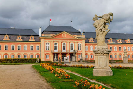 Rococo chateau with a distinguished facade, magnificent residence from the 18th century, castle Dobris in autumn, Central Bohemia, Czech Republic, October 07, 2017