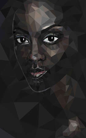 Polygonal portrait of black woman