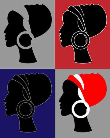 turban: profile or silhouette of african women in turban