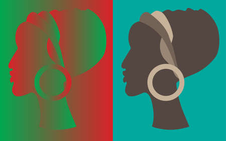 profile or silhouette of african woman in turban. vector