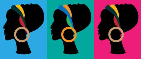 Silhouette di donna africana Archivio Fotografico - 66703384