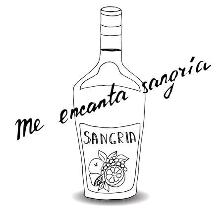 Handwritten text in Spanish I like sangria very much, vector 向量圖像