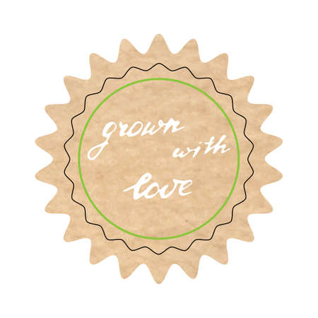 Grown with love, vector sign, hand-drawn illustration Illustration