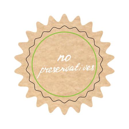 preservatives: No preservatives, vector sign, hand-drawn illustration