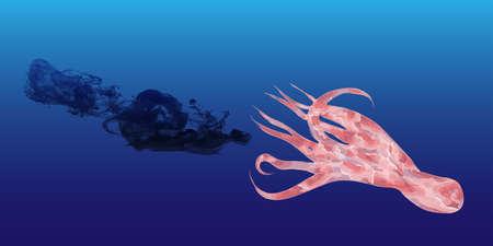 Vektor-Illustration von Hand gezeichneten Oktopus und Tinte Wolke