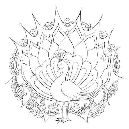 Mandala A Mano Del Vector, Pavo Real Indio. Todas Las Líneas Son ...