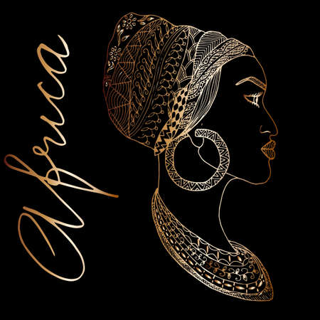 earrings: Hand-drawn african woman in sketch golden style with mehndi elements, indian pattern. Outline vector. Perfect for bags design, print on t-shirt Illustration