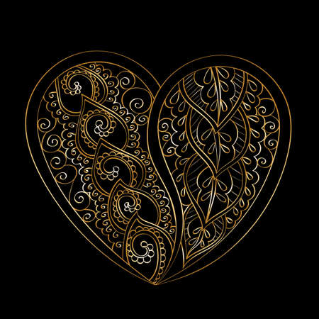 jewerly: Hand-drawn vector mandala heart with golden abstract pattern, isolated on black background Illustration