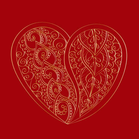 gold textured background: Hand-drawn vector mandala heart with golden abstract pattern, isolated on red background. Bag design, Valentines day design. Traditional indian pattern. Illustration