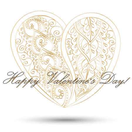 joyas de oro: Greeting card for Valentines day.  Hand-drawn mandala heart with golden abstract pattern on white background with shadow, vector