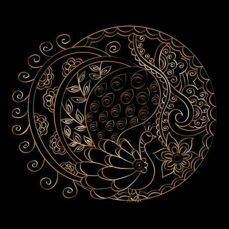 Hand-drawn vector mandala, golden on black background, indian peacock, indian pattern Illustration