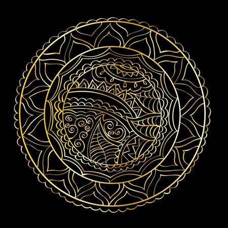 Hand-drawn vector mandala, golden abstract pattern Illusztráció