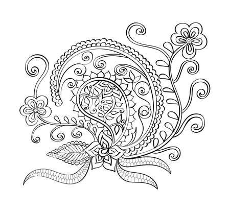 Hand-drawn vector mandala, book page mandala, coloring book, outline mandala, abstract pattern, indian ornament