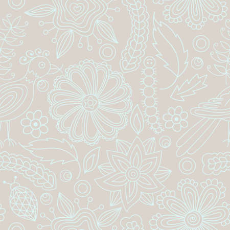 Seamless texture with flowers, birds and insects. Hand-drawn floral pattern, vector. Elements are not cut off and hidden under mask. Floral elements on beige background. Ilustrace