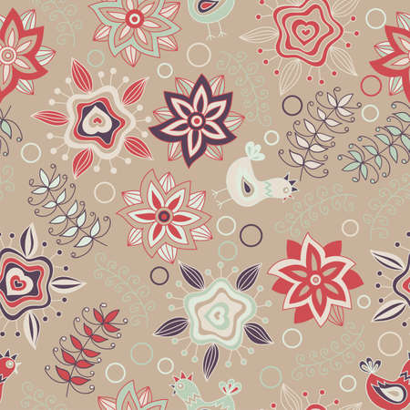 Seamless pattern with flowers, birds and insects. Endless floral pattern, hand-drawn colorful elements on brown background, vector. Elements are not cropped and hidden under mask. Illustration