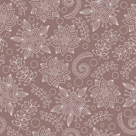 Seamless pattern with flowers and birds. Endless floral pattern, hand-drawn elements on brown background, vector. All elements are not cropped and hidden under mask. Illustration