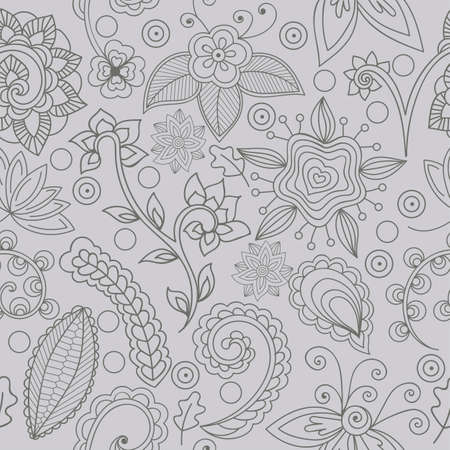 Elements in floral and indian style. Seamless pattern with flowers and indian elements. Hand-drawn elements on grey background, vector. Elements are not cropped and hidden under mask