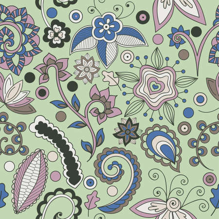 Hand-drawn vector floral and indian ornament on green background. Seamless floral pattern. Indian pattern. Doodle style, vector. All elements are not cropped and hidden under mask Ilustração