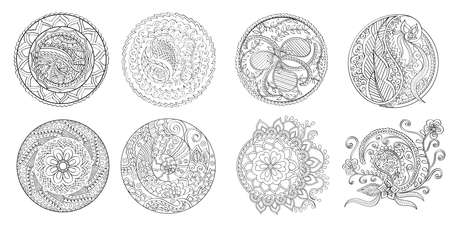 artboard: Set of indian mandalas, vector. Each mandala is in separate artboard. The contour is smooth.