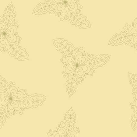 oriental vector: Vector seamless pattern with indian elements. Elements are hidden under mask, not cut off. Contour is smooth. Swatch is in the panel. Perfect for wallpaper, textile print Illustration