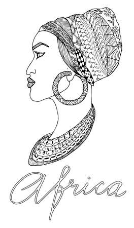 Hand-drawn african woman in sketch style with mehndi elements, indian pattern. Outline vector. Perfect for coloring books, bags design, print on t-shirt