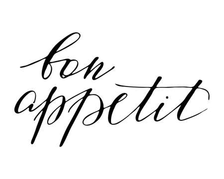 Inspirational handwritten brush lettering bon appetit. illustration isolated on white background.