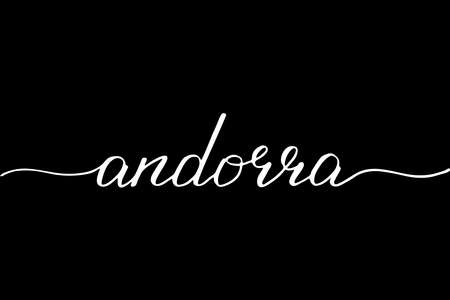 Andorra - handwritten text vector script Illustration