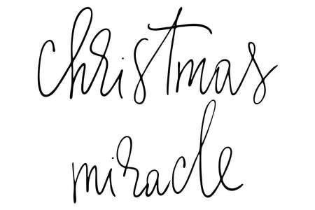 Christmas miracle handwritten text vector Vettoriali