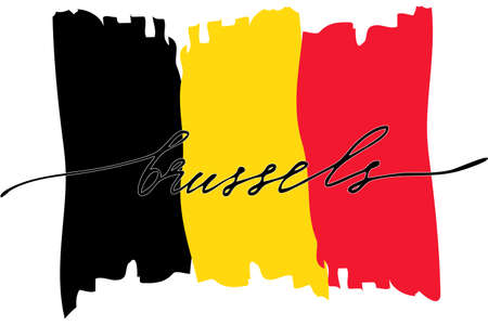 Belgium flag handwriting text calligraphy flag of Belgium with handwritten text, vector. There are true colors of flag Illustration